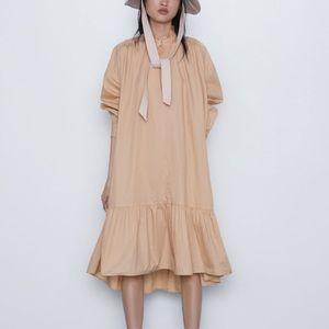 Zara sand color ruffled poplin dress